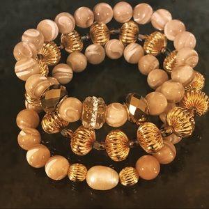 Stunning three stack bracelet set.